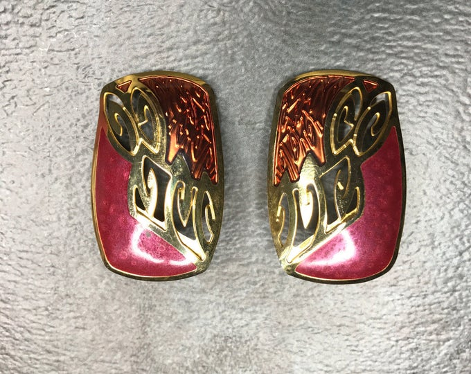 Vintage Estate Berebi Gold Tone Burgundy Mauve Earring