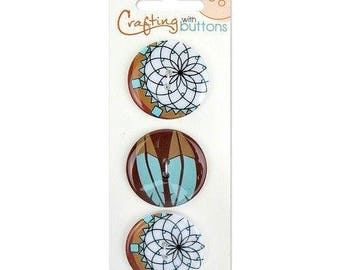 Tribal Feather Buttons 1 1/4 in 32mm 2 Holes Brown Turquoise Blue White Crafting with Buttons Item 470001207