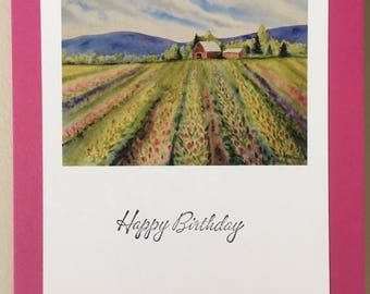 PRINT of an original watercolor greeting card. Skagit Valley tulip fields, Pacific Northwest, for her, decor,mother, daughter, grandmother