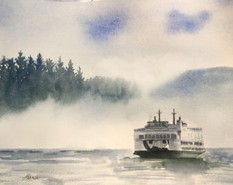 Pacific Northwest Ferry PRINT of an original watercolor painting 8x10, for him, for her, ocean , Puget Sound, San Juan Islands, water