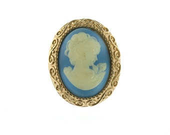 Gold Plated Blue Cameo Pin