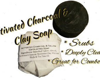 Activated CHARCOAL Exfoliating Facial Soap with skin soothing Tallow! Great for Acne prone / Dry skin. Cleanses & Moisturizes. 100% Natural!