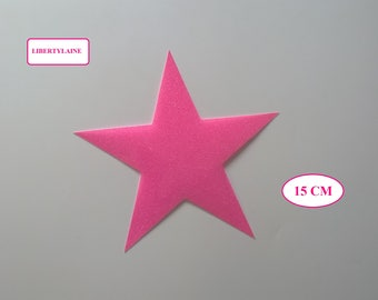 Applied interfacing large star in glittery pink neon flex