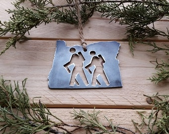 Oregon Hikers Ornament Hike OR Metal State Christmas Tree Decoration Personalize Host Gift Travel Keepsake Wander Mountains BE Creations