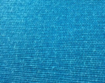 "Burlap Jute Hessian Turquoise Fabric 34"" By the Yard Jute 100% Natural"
