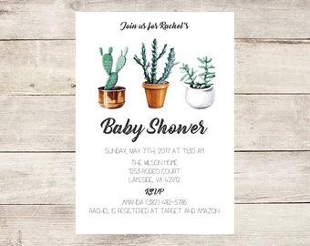 Gender Neutral Cactus Baby Shower Invitation
