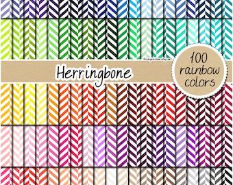 SALE 100 herringbone digital paper fabric digital paper rainbow herringbone pattern printable scrapbook 12x12 pastel neutral bright dark