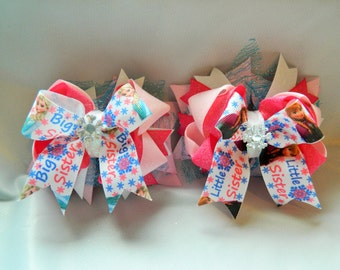 Frozen Elsa and Anna Inspired Big Sister/Little Sister Stacked Cheer Bow Hair Bow Clip Set