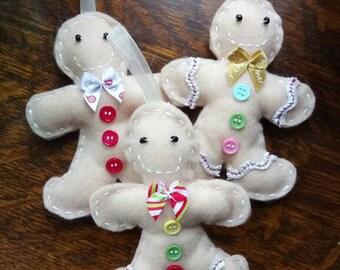 Gingerbread Trio Christmas Decorations