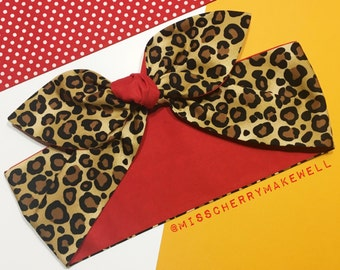 Red & Leopard Animal Print Rockabilly Vintage 1950s Inspired Self Tie Head Scarf Hair Tie Headscarf Hair Bow by Miss Cherry Makewell
