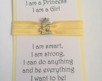 Elastic bracelet I am a Princess Initial charm, yellow
