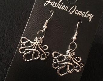 80p UK P&P Handmade Octopus earrings kraken silver nautical steampunk ocean sealife statment antique animal fish kraken surfer