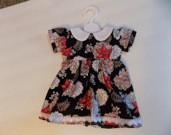 Black/Beige,Red Print American Girl Doll Size Dress. #377