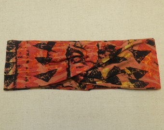 Tribal Aztec Orange and Black Turban Twist Head Wrap Headband
