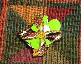 10 Pack of Flow Art Yoshi Glow Poi Staff Hula Hoop Raver Hooping EDM Hooper Enamel Lapel Hat Pin Lot