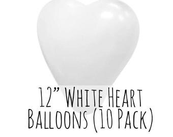 """12"""" Heart Shaped White Balloons, 12 Inch White Heart Balloons, 10 pack, 1 ft Balloon, Party Decorations, Wedding Supply, Birthday Decoration"""