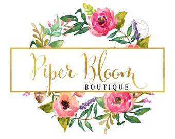 Premade Logo Rustic Floral Peonies Pink Watercolor Boho Gold Modern Custom Shop Logo Business Card Branding Design Wedding Signs LD026