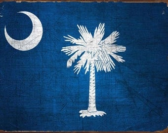 South Carolina State Flag Metal Sign, Americana, Rustic Décor, HB7276