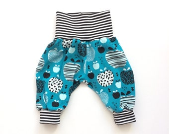 Comfy baby pants. Petrol baggy harem pants with retro apples. Jersey knit fabric. Black and white stripes. Infant pants. Gender neutral