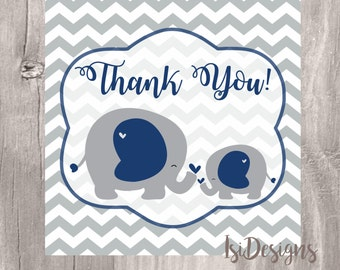 Elephant Baby Shower Favor Tag, Navy and Grey Printable Thank You Tag, Instant Download, Baby Shower Elephant Thank You Tag