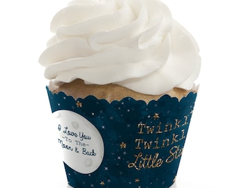 Twinkle Twinkle Little Star -  Cupcake Wrappers - Baby Shower and 1st Birthday Party Cupcake Decorations - Set of 12