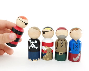 "2 3/8"" pirate peg dolls with felt roll up sleeping bag pouch // 5 wooden peg dolls - wooden toys"