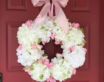 Summer Wreath Ideas, Hydrangea Wreath Front Door Wreath for Summer Door Wreath White Wedding Wreath, White Floral Wreath, Bridal Wreath