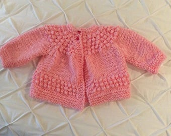 Handknit baby girl sweater