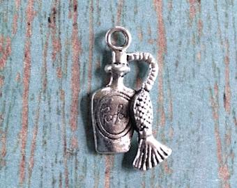 8 Perfume bottle charms antique silver tone (2 sided) - perfume pendants, vintage perfume bottle charms, parfum charm, atomizer charms, Z7