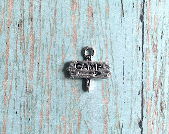 Bulk 50 Tiny camp sign post charms (1 sided) silver tone - camping pendants, camp charms, summer camp charms, camp counselor charms, AA5