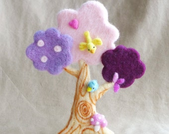 Needle felted pink/purple Spring tree OOAK handmade wool sculpture