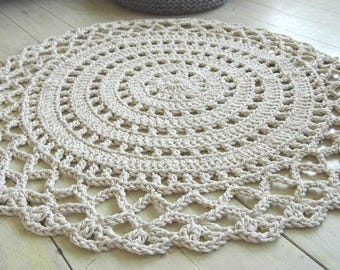 Shabby Chic Farmhouse Crochet Rug  Bostonbackbay We Ship Internationally