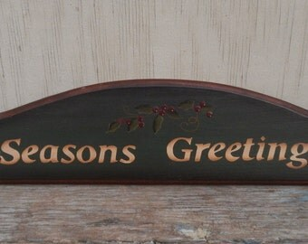 """Hand Painted Wooden """"Season's Greetings"""" Holiday Sign!"""