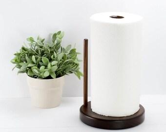 Round Walnut Paper Towel Holder