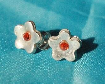 Silver & Cz flower stud earrings