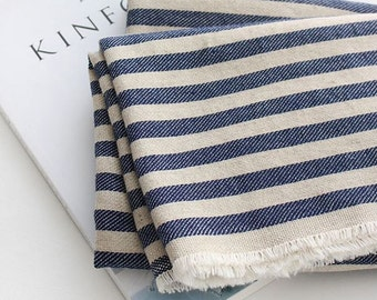 Navy Linen Stripe Pattern Fabric by Yard