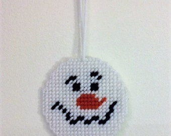 Snowman Holiday Ornament, Plastic Canvas Ornament, Tree Decoration, For Kids, Office Decor, Snowman Tree Decor, Holiday Gift, Gift Bag Tag