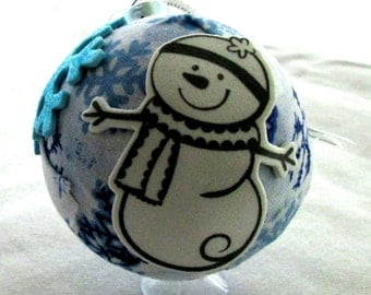 Fabric covered glass ornament EBC0003