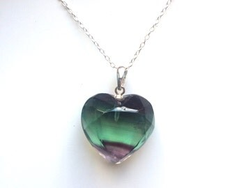 Fluroite purple facet heart shaped gemstone pendant necklace sterling silver
