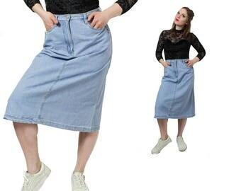 Denim skirt, Long Jeans skirt, Vintage skirt, Maxi skirt, Long skirt, Maxi jeans skirt, Light blue skirt, Boho skirt, Blue / Small Medium