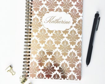 Personalized Notebook, Vintage Background in Color Foil with Name Spiral Notebook, Writing Journal (NB034-F)
