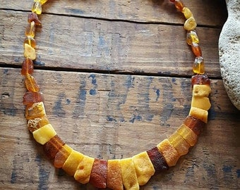 Baltic Amber Necklace, Natural Crystal, Handmade Jewelry, Crystal Jewelry, Amber, Healing, Raw Crystal, Sacred, Magical, Beautiful, Unique.
