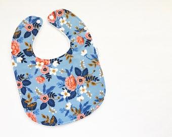 Baby Bib - Personalized Baby Bib - Floral Baby Bib - Periwinkle Floral Baby Bib - Pink Floral Baby Bib -White Minky Backing - Handmade Gift