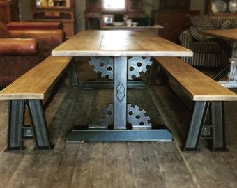 Rustic Industrial Reclaimed Metal 7ft Cog Frame Dining Table Steampunk..