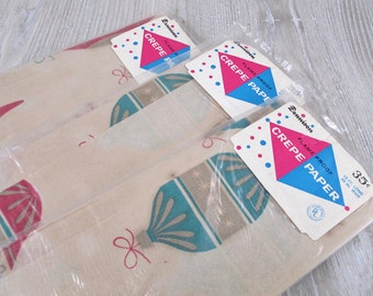 3 Packages Vintage Crepe Paper Dennison 1960s 1970s Christmas Tree Ornaments AS IS Faded Toned Shiny Brite Retro Mod Unused Packs Old