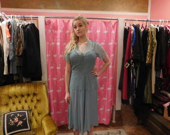 1940's Dress  light  pale  pastel blue