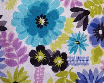 Painted Floral Flannel Fabric by the yard