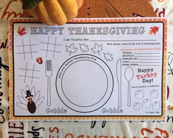 Thanksgiving Placemat - Instant Download -  Placemat - Thanksgiving - Turkey Printable - Thanksgiving Craft - Thanksgiving Coloring Sheet