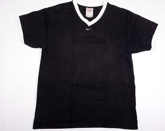 Vintage Nike V Neck Tiny Minimal Swoosh Monochrome Logo Tshirt