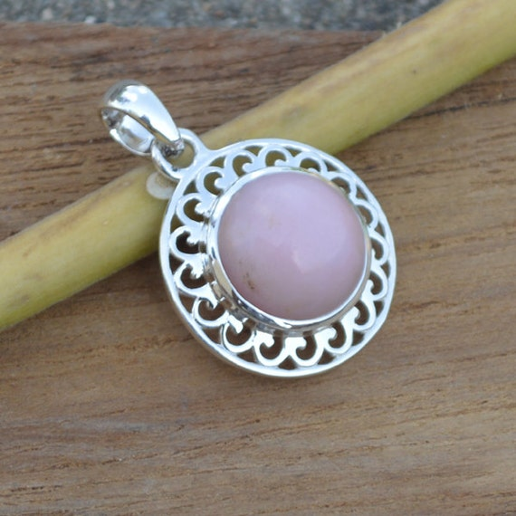 Natural Pink Opal pandant, Sterling Silver pandant, Pear Peruvian Pink Opal pandant, Minimalist Jewelry October Birthstone Gift Jewelry
